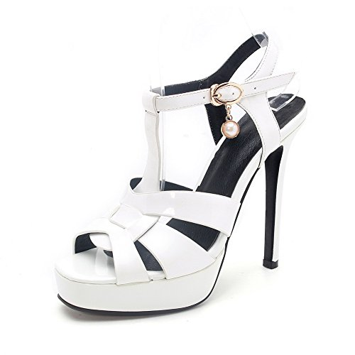 AgooLar Women's Open Toe High-Heels Patent Leather Solid Buckle Sandals White hsiIpb