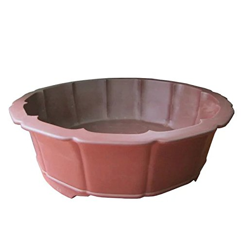 Carving-painting Red-brown Purple Clay Water-caltrop-flower Round-basin Type Floor Flowerpot by Sungao