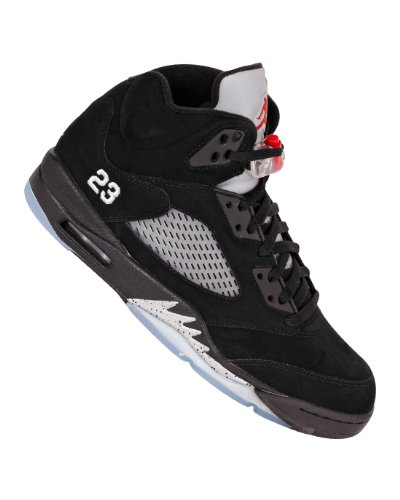 Air Jordan Basketball Boots (Nike Air Jordan 5 Retro Mens Basketball Shoes 2011 [136027-010] Black/Varsity Red-Metallic Silver Mens Shoes 136027-010-10.5)