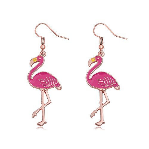 SENFAI Pink Enamel Flamingo Bird Dangle Earrings Black Tone (Rose gold)