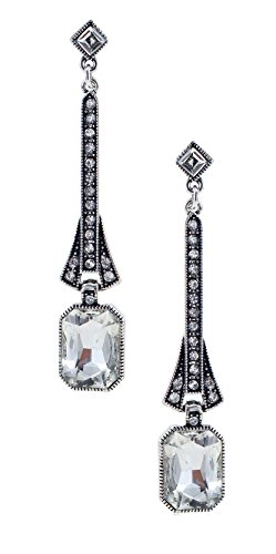 Art Deco Flapper Antique Vintage Style Emerald Cut Rhinestone Extra Long Dangle Wedding Bridal Prom (1928 Vintage Costume Jewelry)