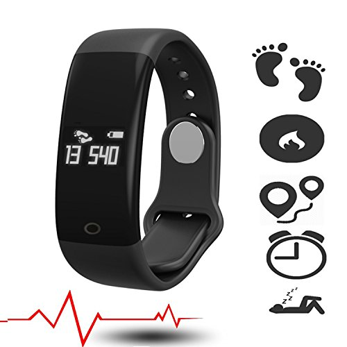 Fitness Activity Tracker Heart Rate Monitor with Pulse Meter Sports Watch Smart Watch Activity and Sleep Tracker Fitness Armband Waterproof Step Counter Calorie Usage SMS Calls notification (Black)