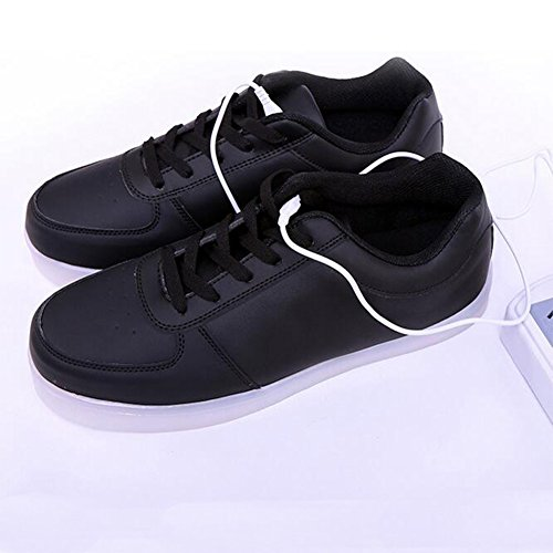 Black Colors Shoes Walking Women USB Up 7 Light LED Sneakers Charging CvvZROgP