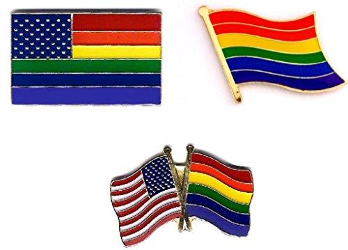 3 pc Set Gay & Lesbian Pride Rainbow Fla - Pride Rainbow Button Shopping Results