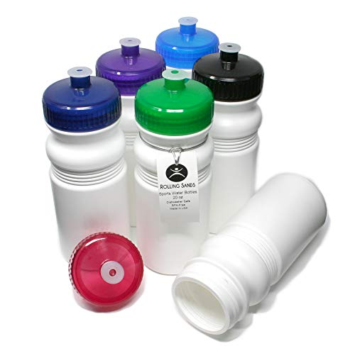 Rolling Sands 20oz Sports Water Bottles 6 Pack (BPA-Free, Made in USA) Dishwasher Safe, White -