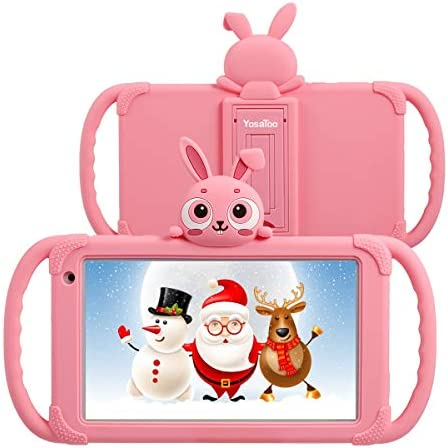 Tablet for Kids 7 Kids Tablet for Toddlers 1GB 16GB Android 9.0 Toddler Tablets with Case Included WiFi Camera IPS Screen Google Play Store, YouTube Parental Control (Pink)