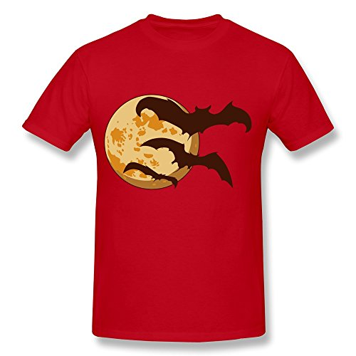 SHIYI Halloween Moon Bats Tshirts For Mens XXL Red -