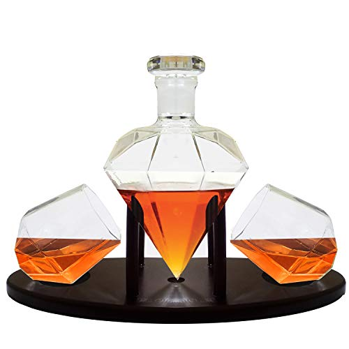 Diamond Whiskey Decanter With 2 Diamond Glasses & Mahogany Wooden Holder – Elegant Handcrafted Crafted Glass Decanter For Liquor, Scotch, Rum, Bourbon, Vodka, Tequila – Great Gift Idea – 750ml by RUGLUSH (Image #1)