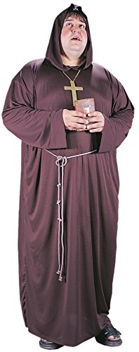 [Men's Brown Medieval Monk Costume Hooded Friar Tuck Priest Adult Plus Size] (Plus Size Adult Halloween Costumes Ideas)