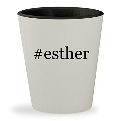 #esther - Hashtag White Outer & Black Inner Ceramic 1.5oz Shot (Queen Esther Bible Costume)