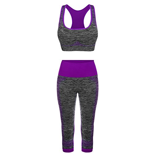 FITIBEST Sport Suits High Impact Sports Bra Yoga Pants Gym Outfits Breathable Exercise Bra and Leggings for Women (L, Purple)