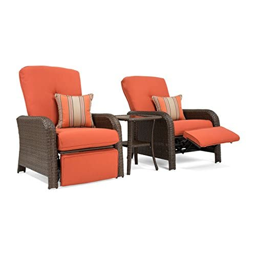 Top La-Z-Boy Outdoor Sawyer 3 Piece Patio Furniture Recliner bundle (2 outdoor recliners and 1 side table) (Grenadine Orange) hot sale