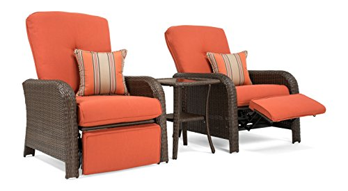 La-Z-Boy Outdoor Sawyer 3 Piece Patio Furniture Recliner bundle (2 outdoor recliners and 1 side table) (Grenadine Orange) (Chair Patio Boy Cushions Lazy)