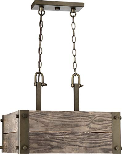 Nuvo Lighting 60/6422 Winchester-4 Square Pendant with Aged Wood, Large, Bronze