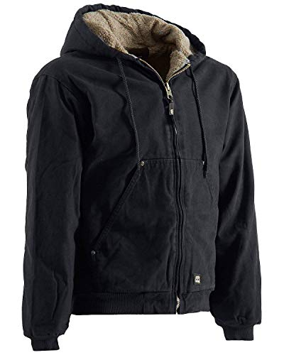(Berne Men's High Country Hooded Jacket Sherpa Lined Black Large )