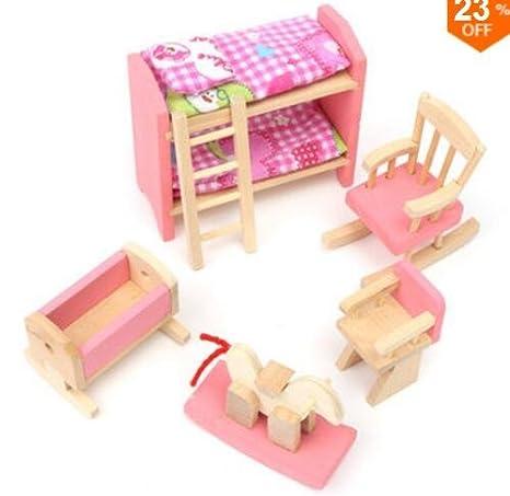 Amazoncom Gggarden Wooden Doll Set Children Toys Miniature House
