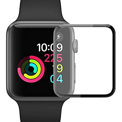 - 41yxkTl44LL - YJan Screen Protector for Apple Watch Tempered Glass Scratch Resistant Anti-Bubble Film Easy-Installation Film Compatible with Apple iWatch Series 3/2/1 (38mm 2 Pack)