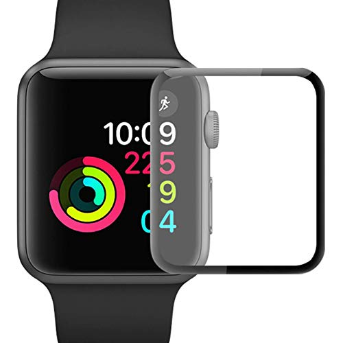 YJan Screen Protector for Apple Watch Tempered Glass Scratch Resistant Anti-Bubble Film Easy-Installation Film Compatible with Apple iWatch Series 3/2/1 (42mm 2 Pack)
