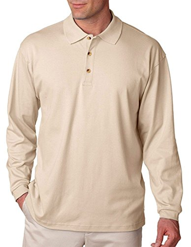tian Interlock Long Sleeve Polo Shirt, Stone, Medium ()
