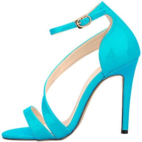 be4aedf7b352f Cuir Croisées Ouvert Bride Talon Brides Clair Sandales Bout Escarpins  Aiguilles Haute Boucle Sexy Bleu Vernis