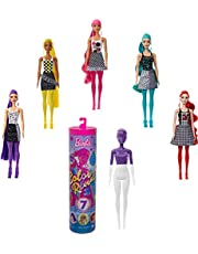 Barbie Color Reveal Doll Color-Block Series with 7 Surprises: 4 Mystery Bags Contain Surprise Hair Piece, Skirt, Shoes & Earrings; Water Reveals Doll's Look & Color Change on Bodice & Hair