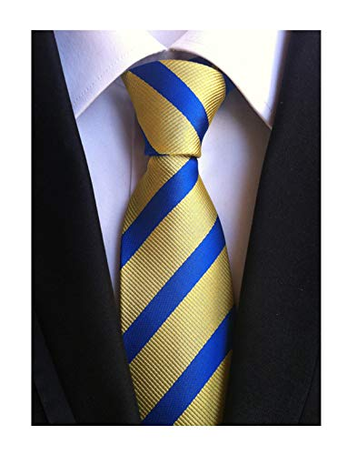 (Mens Boys Kids Blue Yellow Stripe Silk Ties Skinny Woven Gentlemen Suit Neckties)