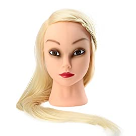 Anself Professional 27″ Long Hair Dummy Head Hairdressing Training Model Practice Mannequin Head with Clamp