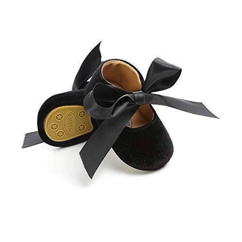 Isbasic Baby Girls Mary Jane Shoes Toddler Soft Sole Anti-Slip Princess Baptism Crib Dress Shoes (6-12 Months, -
