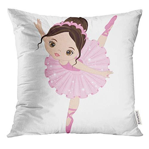 Emvency Throw Pillow Cover Ballet Cute Little Ballerina Dancing Girl in Pink Dress Cartoon Decorative Pillow Case Home Decor Square 20x20 Inches Pillowcase