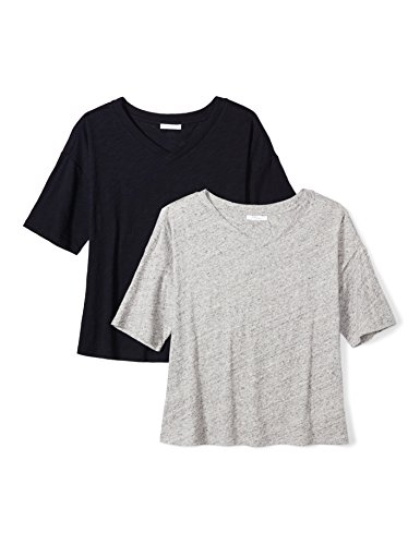 Top Sleeve 1/2 (Daily Ritual Women's Washed Cotton 1/2-Sleeve V-Neck T-Shirt, L, Heather Grey Spacedye/Navy)