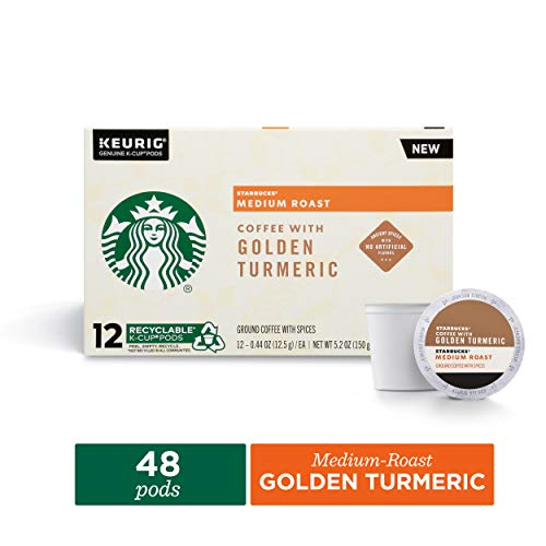 Starbucks Medium Roast Coffee K-Cup Pods with Golden Turmeric | Coffee Pods for Keurig Brewers | 4 Boxes (48 Pods)