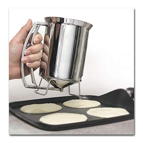 Durable Silver Holds 3 Cups of Batter -Pancake Batter Dispenser - Stainless Steel