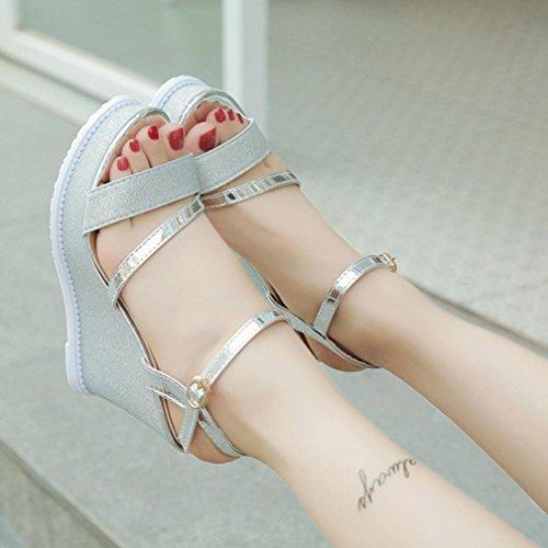 de à Peep la Toe Sangle Argent Compensées Mode Femme Boucle Ete Cheville Xinxinyu Chaussures Femmes Plateforme Sandales ❤️ Sandales Zn806Oxwq7