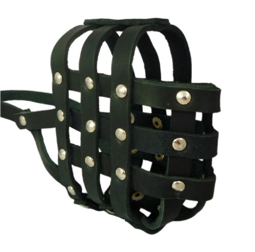 Real Leather Dog Basket Muzzle #107 Black – Amstaff , PitBull (Circumference 12.2″, Snout Length 3.5″), My Pet Supplies