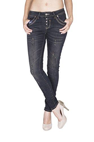 Para Básico Mujer Monkey Jeans Skinny Blue Vaqueros Negro 7qIOX