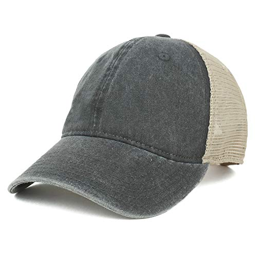 Armycrew Oversize XXL Unstructured Washed Pigment Dyed Trucker Mesh Cap - Black - 2XL ()