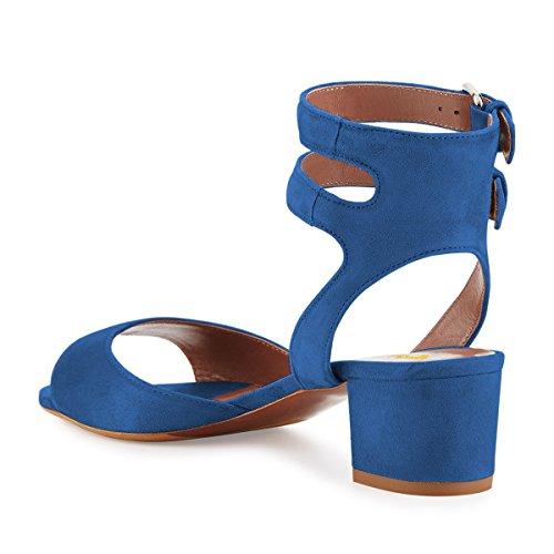 Fsj Donna Fibbia Doppia Punta Aperta Sandalo Tacco Grosso Cinturino Alla Caviglia Per Il Comfort Misura 4-15 Us Royal Blue