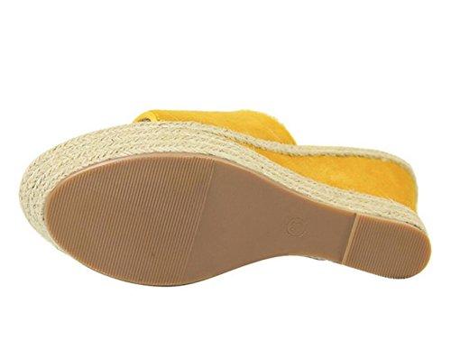 Cuña Alto Yellow Cáñamo Sandalias Cuerda Tacón Mujer De Tejido Zapatillas Zapatos Simple Grueso qIwHfE
