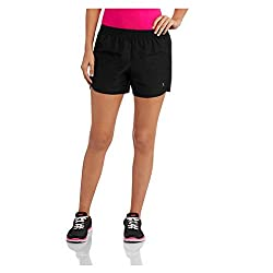Danskin Now Women's Woven Running Short with Hidden Liner (Small, Coral/White/Silver)