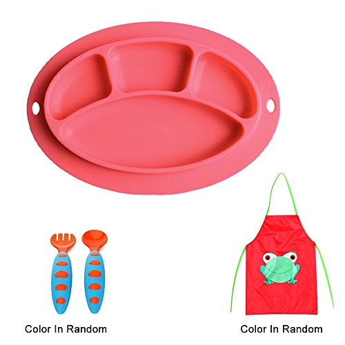 Sealive Baby Silicone Placemat + 1pc Kids Aprons Children Paint Eat Drink Aprons + 1 set Baby Fork and Spoon Set Training Flatware,BPA Free,Early Education Self-Feeding Tableware Accessories ()