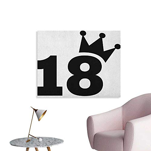 (Anzhutwelve 18th Birthday Photo Wall Paper Cartoon Soccer Jersey Seem Bold 18 Number Party Sports Playing Art Print Cool Poster Black and White W28 xL20)