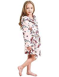 Soft Unicorn Hooded Bathrobe Sleepwear - Unicorn Gifts for Girls (5-6 Years, Unicorns Cute Pink)