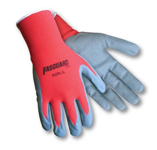 Safety Works C9673L  Multi-task Gloves, Dipped Foam Nitrile, 100% Red Nylon Shell, Secure Grip On Oily Surfaces, - Task Shell