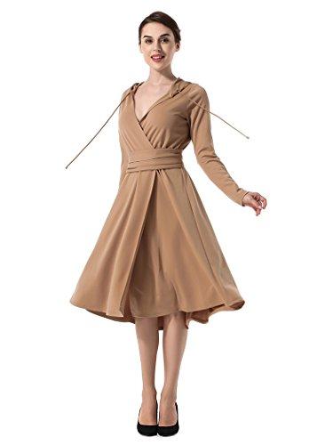 Acvip V Capuche Casual Col Robe Dress Femme rrxfBa