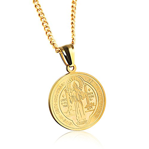 - TENGYI 18K Gold Plated Stainless Steel St Saint Benedict Medal Pendant with 24 Inch Chain Necklace