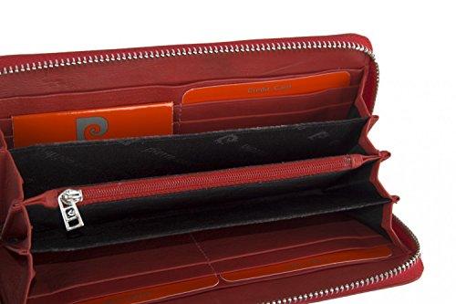 cartera mujer PIERRE CARDIN rojo en cuero compacto con abertura zip
