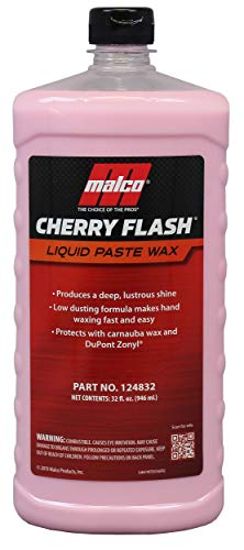 Malco Cherry Flash Automotive Liquid Paste Wax - Protect & Shine Your Vehicle/Easiest Way to Hand Wax Your Car/Lasting Gloss & Protection for Any Car, Truck, Boat or Motorcycle / 32 Oz. (124832)