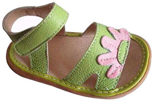 Jiazibb Baby Girls Velcro Leather Flowers Squeaky Toddler First Walkers Shoes Sandals (# 8 / Insole Length:150mm, Green)