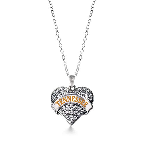 Tennessee Heart Charm - Inspired Silver - Tennessee Charm Necklace for Women - Silver Pave Heart Charm 18 Inch Necklace with Cubic Zirconia Jewelry