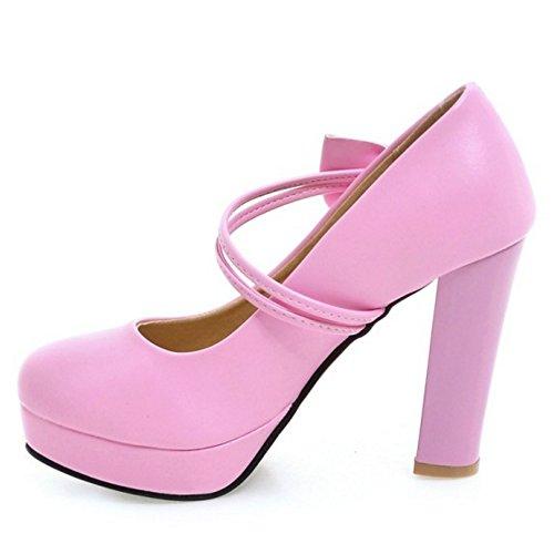 COOLCEPT Mujer Moda Correa en T Mujer Vestido Tacon de Cuna Bombas Zapatos con Bowknot (36 EU, Pink)